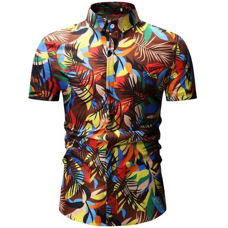 2019 New Summer Mens Short Sleeve Beach Hawaiian Shirts Casual Floral Shirts Regular Plus Size 3XL Mens Clothing Fashion