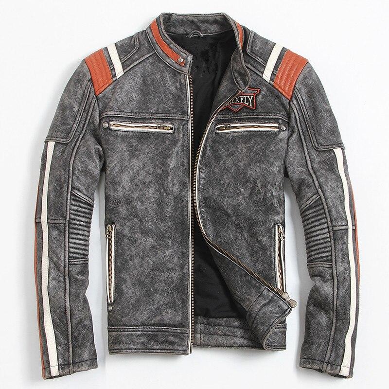 HARLEY DAMSON Vintage Nero Giacca In Pelle da Uomo Biker Cranio Del Ricamo Plus Size 3XL Pelle Bovina Reale Cappotto di Cuoio Del Motociclo