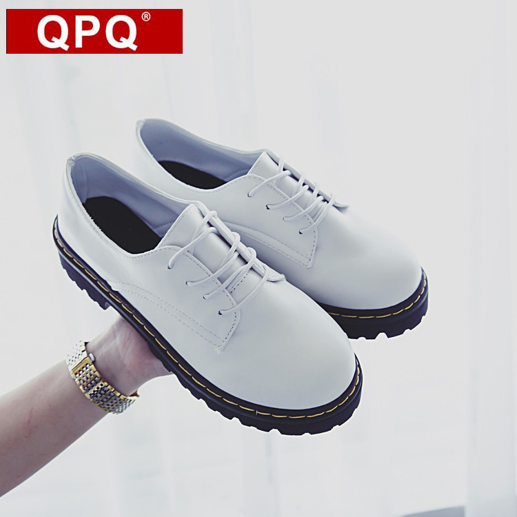 QPQ British Style High quality Leather Oxfords For Women Martin Ankle Shoes Female Spring Autumn Casual Lace-Up Flats Shoes 2017 spring autumn new genuine leather lace up oxford shoes female thick bottom flats shoes europe style martin shoe obuv