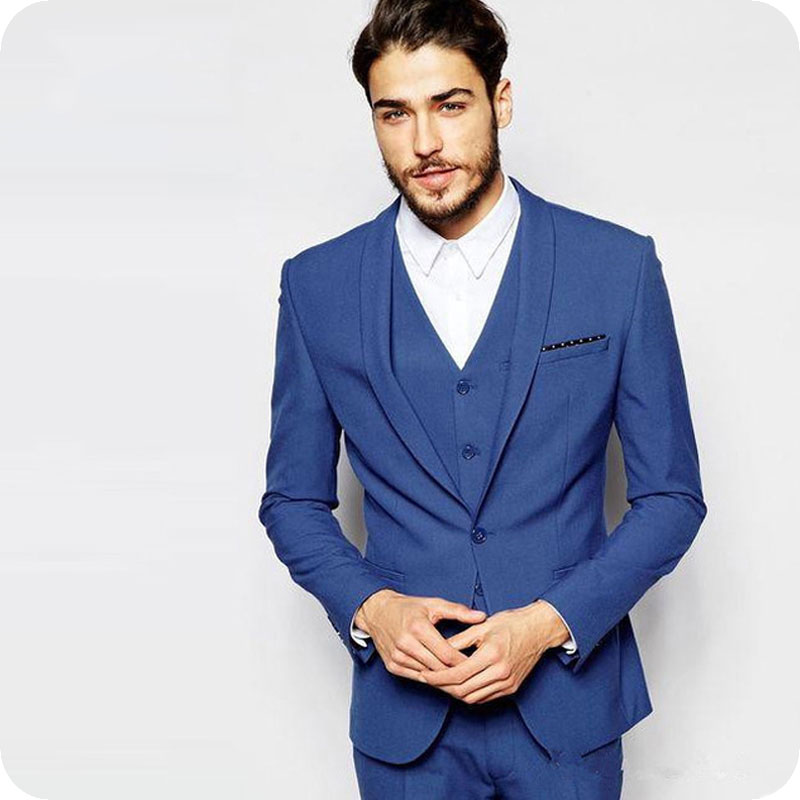 Royal Blue Wedding Men Suits 3 Pieces (Jacket+Pants+Vest) Slim Fit Groom Wear Tuxedos Bridegroom Suits Blazer