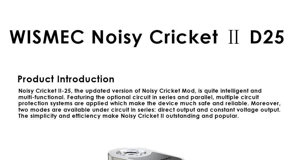 Original WISMEC Noisy Cricket II D25 Box MOD Vape Electronic ...