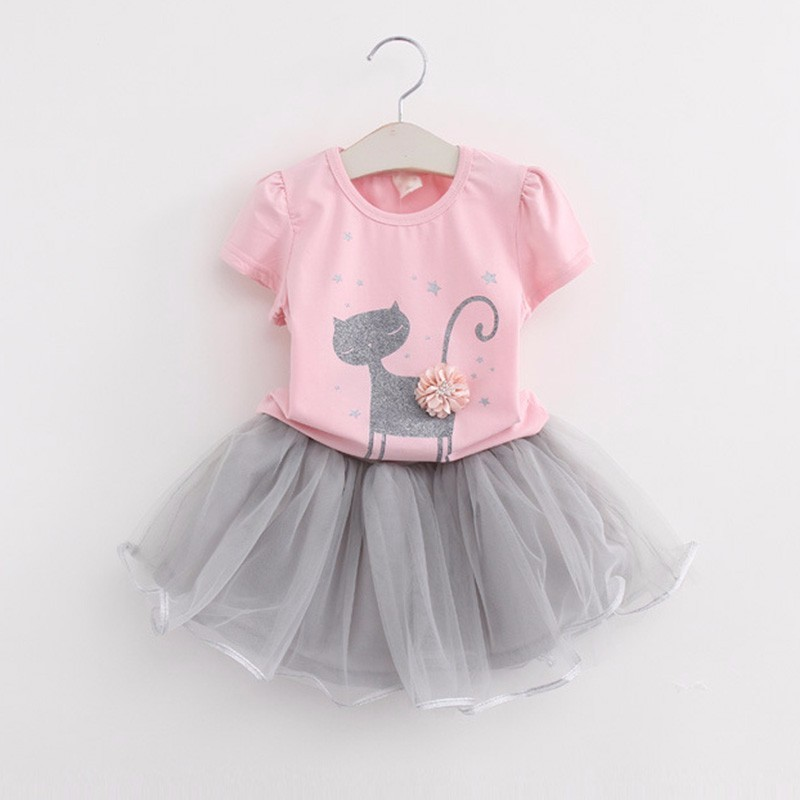 2017 Summer Girls Clothing Sets Fashion Cartoon Cotton Short Sleeve T shirt+yarn tutu Skirts Children Kids Girl Clothes 2pc Set