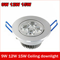 Led Downlight 9W 12W 15W LED Epistar Ceiling lamp lights For home 220V 110V warm white bathroom light Indoor Lighting