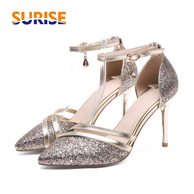 061c5f36fa9 Big Size High Heel Women Pumps Pointed Toe Sequined Cloth Wedding Bridal  Party Dress Ladies Buckle Strap Spike Stiletto D Orsay