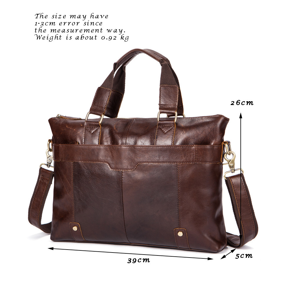 ead98611c1 Vintage Man Briefcase Genuine Leather Cowhide Briefcase Male ...