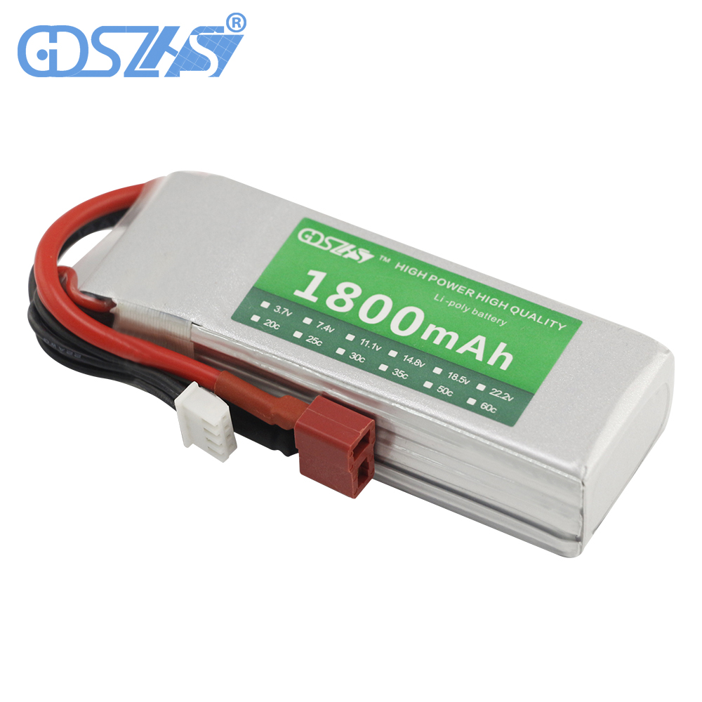 GDSZHS Rechargeable 3S Lipo Battery 11.1V 1800mAh 25C-30C For FPV RC Helicopter Car Boat Drone Quadcopter gdszhs b3 20w 2s 3s lipo battery compact for rc model 11 1v 7 4v 1 6a lipo battery 2s 3s charger