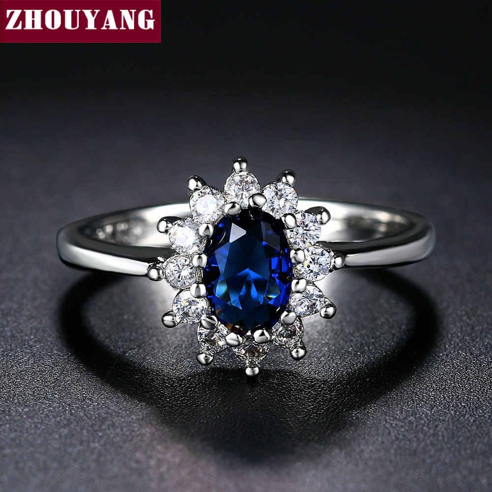 ZHOUYANG Princess Kate Blue อัญมณีสร้างคริสตัลสีเงินสีงานแต่งงาน Finger แหวนคริสตัลเครื่องประดับสำหรับผู้หญิง ZYR076