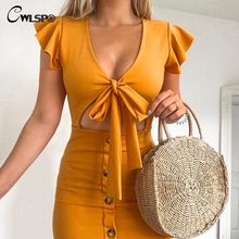 CWLSP Butterfly Sleeve Tie Up Dress Women V Neck Summer Dresses with Buttons Sexy Hollow Out Skinny vestidos verano 2018 QL4127