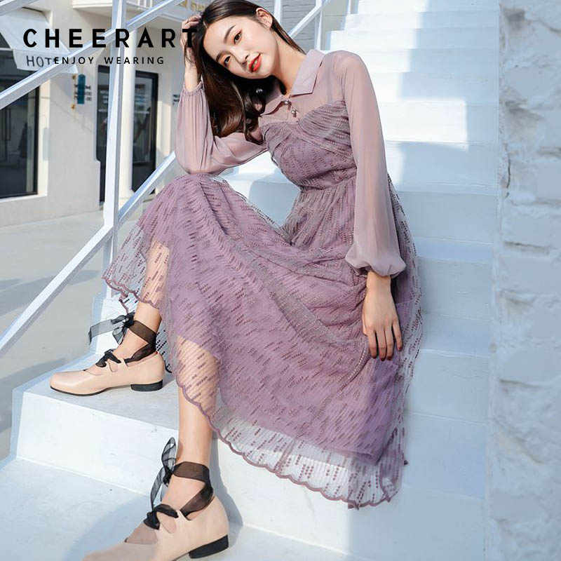 f5af8d53bd18a Detail Feedback Questions about Cheerart Vintage Purple Button Midi ...