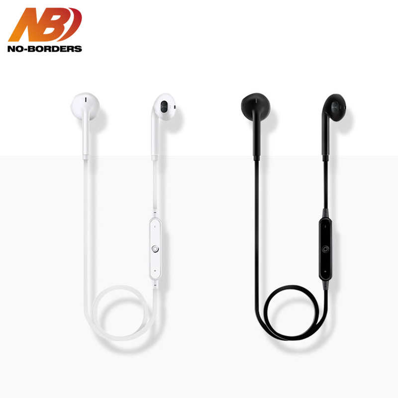 NO-BORDERS S6 Wireless Bluetooth Earphone HandsFree Headset HIFI Sports Stereo Earpieces Earbuds Headphone With Mic For iPhone borders