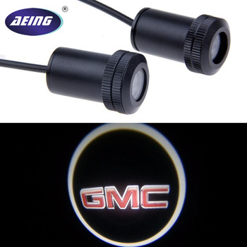 AEING 2pcs Ghost Shadow Logo welcome Car LED Door Light Laser Courtesy Slide Projector logo Emblem light For GMC jurus 12v led door courtesy light with car logo for chrysler for ssangyong for abarth lamp laser projector ghost shadow welcome