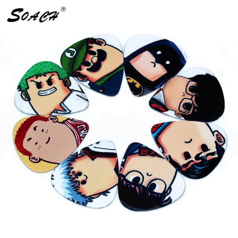 SOACH 1mm/0.71mm High quality guitar picks Cute cartoon character design on both sides Guitar accessories