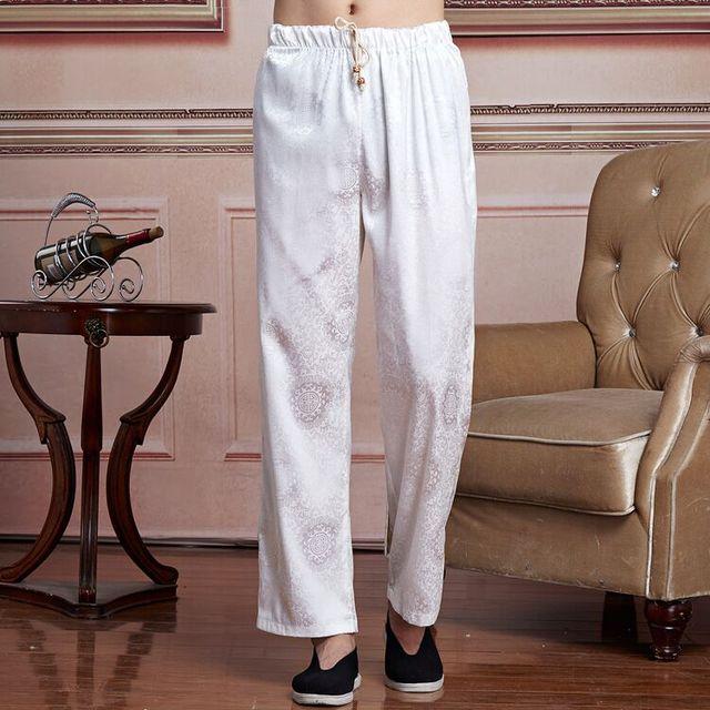 Nuevo Blanco Chino Tradicional Estilo de Los Hombres Pantalones de Primavera y Otoño de Satén Pantalones Tamaño Sml XL XXL XXXL 2519-2B