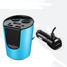 2-гнездо автомобильное Зарядное Устройство Прикуривателя Splitte на/выключения Dual USB Автомобильное Зарядное Устройство Адаптер Питания 5 В 3.1A Зарядки LED-Монитор