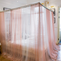 pink Three Door Princess Mosquito Net Double Bed lace Curtains Sleeping Curtain Bed Canopy Net twin Full Queen King Size Net