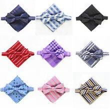 RBOCOTT Bow Ties And Handkerchief Set Mens Fashion Striped & Checked Bowtie Jacquard Pocket Square Wedding Party Accessory