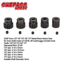 Surpass hobby 5 peças 32dp 5mm 13t 14t 15t 16t 17t 18t 19 conjunto de engrenagem motor de pinion, t 20t 21t metal para caminhão de carro rc 1/8