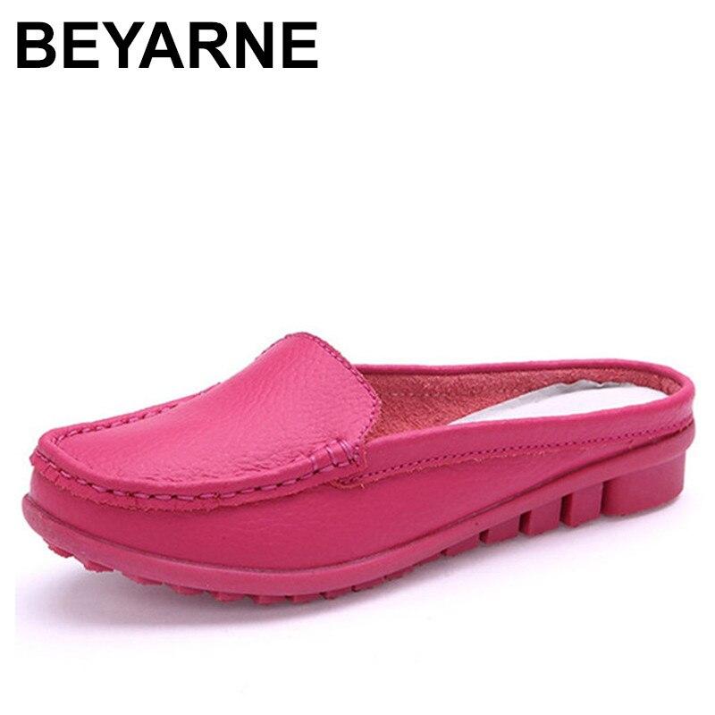 BEYARNE hot summer véritable pantoufles en cuir pour femmes chaussures plat avec faible talon sandales confortable quatre couleurs chaussures femmes