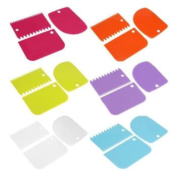 3 Pieces Cream Scraper Irregular Teeth Edge DIY Cake Decorating Fondant Pastry Cutters Baking Spatulas Tools 4