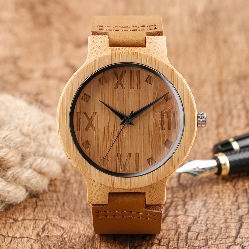 Cool Nature Wood Watches with Genuine Leather Band Roman Number Dial Quartz Wooden Wristwatches for Men Women Best Gift Item