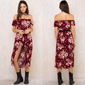 2017 New Women Sexy Vintage Floral Red Flowers Printed Off Shoulder Beach Summer Long Skirted Jumpsuit Rompers Playsuit Overalls