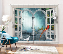 3D Curtains birds printing For Bedding room Living room Blackout Cotinas Fantasy Forest Wood Door Drapes