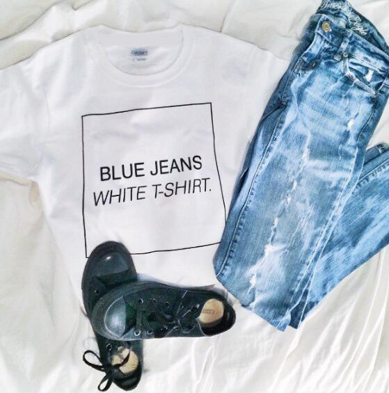 3852b24e88b4 Fashion Clothing Tumblr Tee Blur Jeans White T-Shirt Casual Cotton Outfits  Top Lady Girl Graphic Tee Hipster Sexy Crewneck Shirt