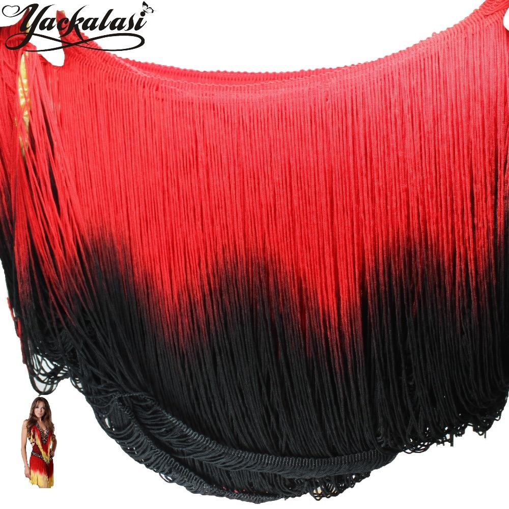 Black ombre curtains - Dip Dye Ombre Fringe Tassel Soft Rayon Latin Macrame Dance Dress Trimming Samba Skirt Tassel Red
