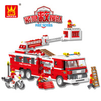 Hot sale Children's educational fire station with fire truck firefighting suit legoing building clocks ABS plastic DIY