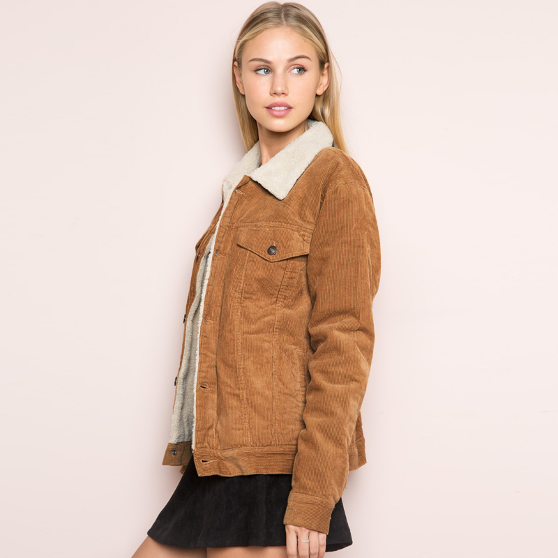 HDY Haoduoyi Winter Casual Brown Corduroy Long Sleeve Turn down Collar Denim Jacket Single Breasted Basic HDY Haoduoyi Winter Casual Brown Corduroy Long Sleeve Turn-down Collar Denim Jacket Single Breasted Basic Women Warm Cotton Coat
