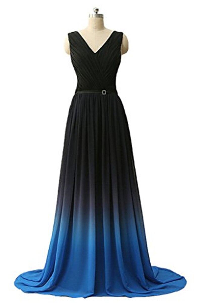 Bealegantom New Sexy Gradient Long Black Blue Evening ...
