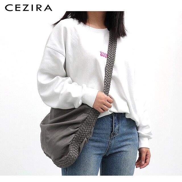 CEZIRA Big Soft Casual Women Bags Girl Wash PU Leather School Handbag Ladies Adjustable Woven Buckle Belt Messenger&Shoulder Bag 2