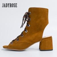 Jady Rose Brown Suede Summer Women Sandals Peep Toe Lace Up Chunky High Heel Gladiator Sandal