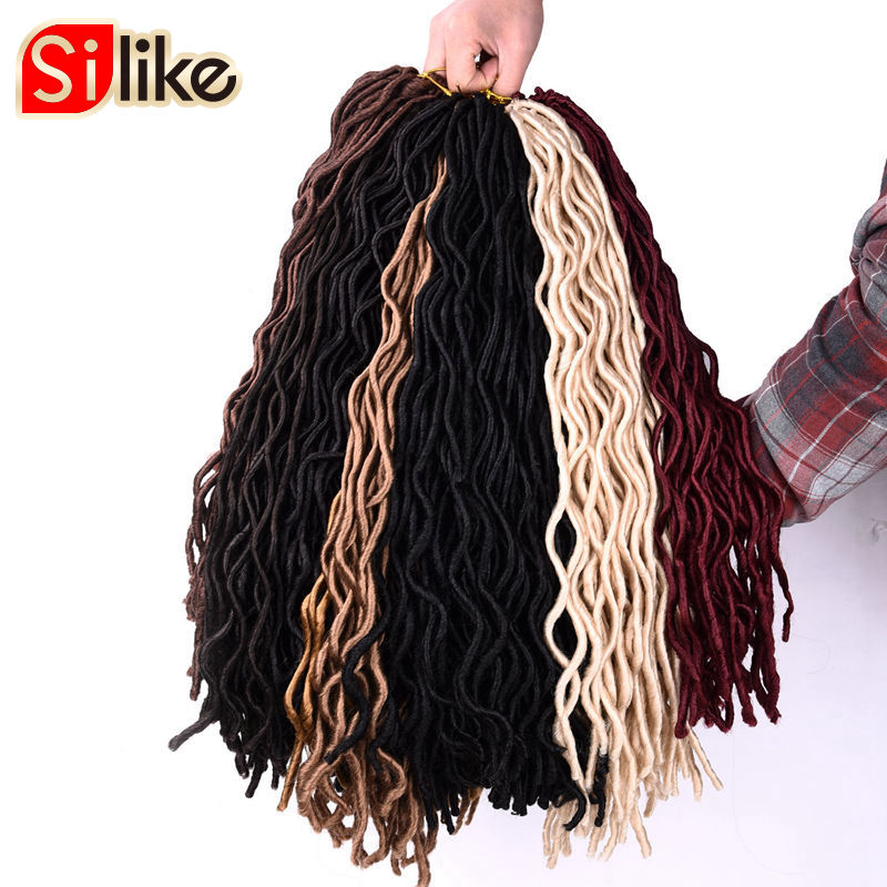 "Silike 2x Faux Locs Curly Crochet Hair 24 Roots BUG Soft Janet Collection 10"" 20"" Braids Hair Extension for Black Women 1 pack"