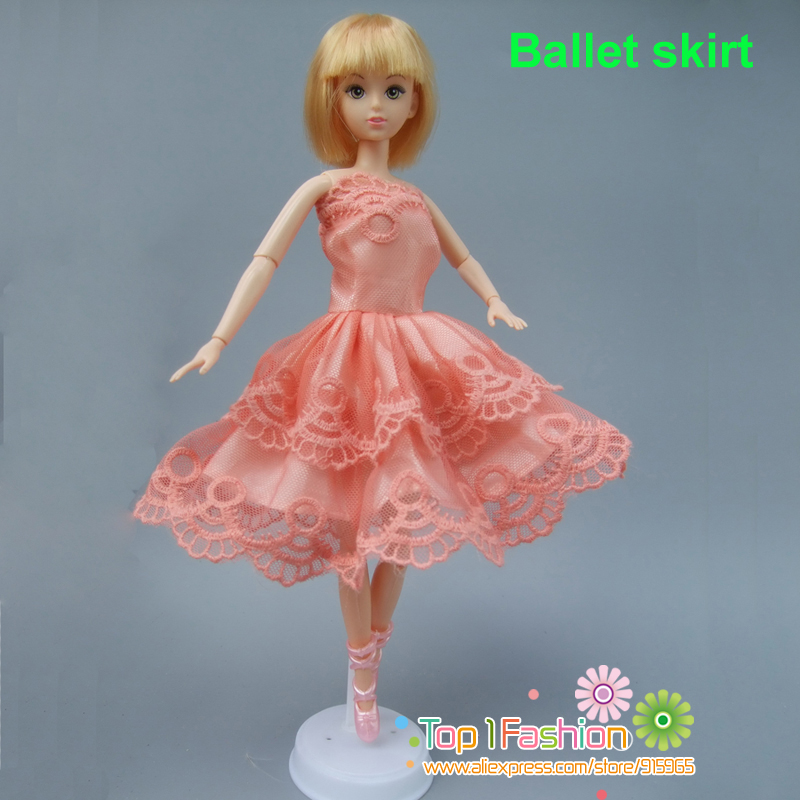 1 piece Tutu Ballet Skirt dress For Barbie Doll short Mini Dress Birthday Gift for baby girl
