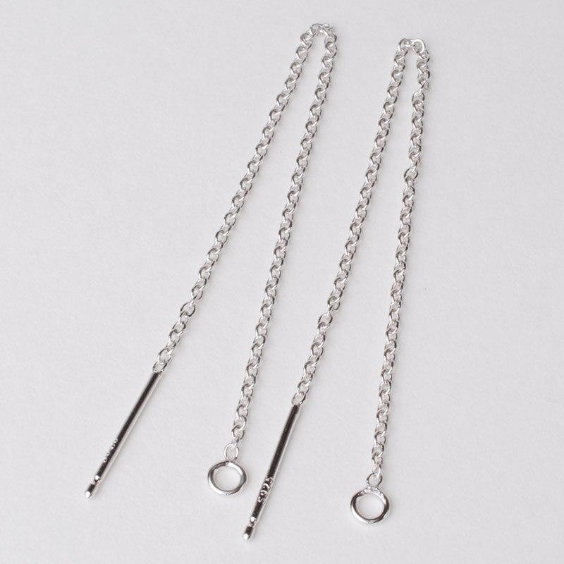 Sólido 925 prata esterlina orelha thread, 1.2mm cabo ligação corrente earwire brincos com laço, atacado