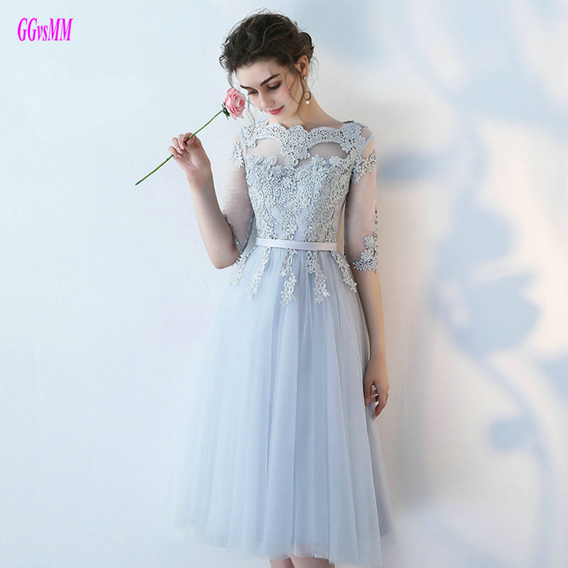 Unique Silver Short   Prom     Dresses   2018 Sexy   Prom   Gowns Scoop Tulle Appliques Half-Sleeve Custom Made   Prom   Party   Dress   Custom Made