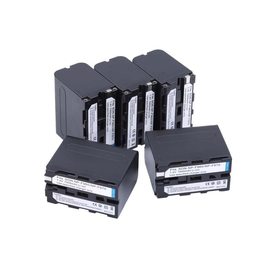 5 pcs/lot 7000 mAh NP-F960 NP-F970 batteries/NP F960 batterie Pour Sony NP-F550 F550 NP-F770 NP-F750 F960 F970 livraison gratuite