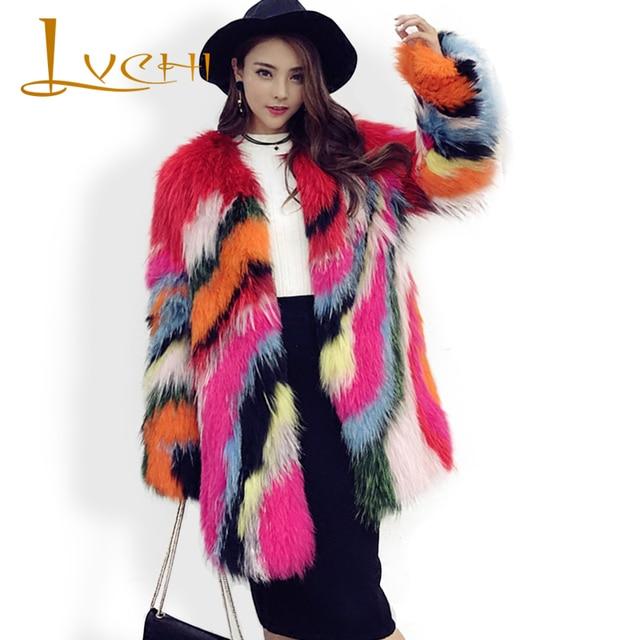 c38fc0482d0 LVCHI Medium Leer Jacket real fur vossenbont mode zoete kleurrijke  natuurlijke vos bontjas vrouwen mooie jassen