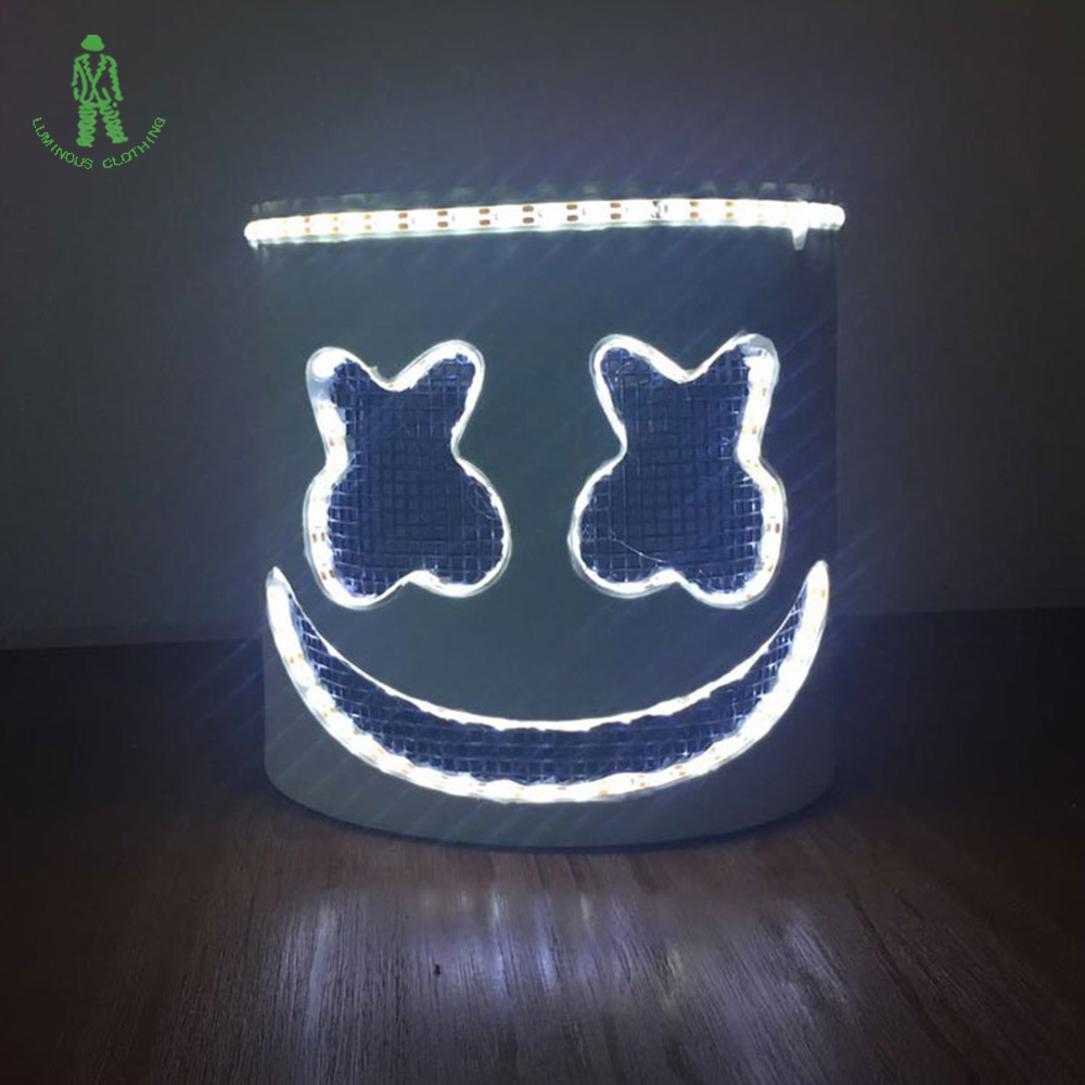 DJ Marshmello Full Head Helmet Cosplay LED Mask Music Party Props Bar Halloween