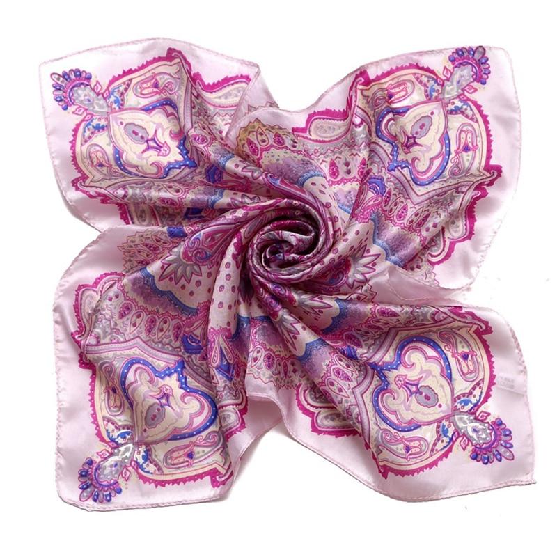 Lesida 2017 Small Silk Square Neck Scarves Women Pink Vintage