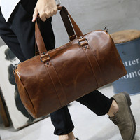 Vintage Brand designer Crazy Horse Leather Men's Travel bags Large Capacity 15 Laptop Travel Totes Casual Fashion Handbag