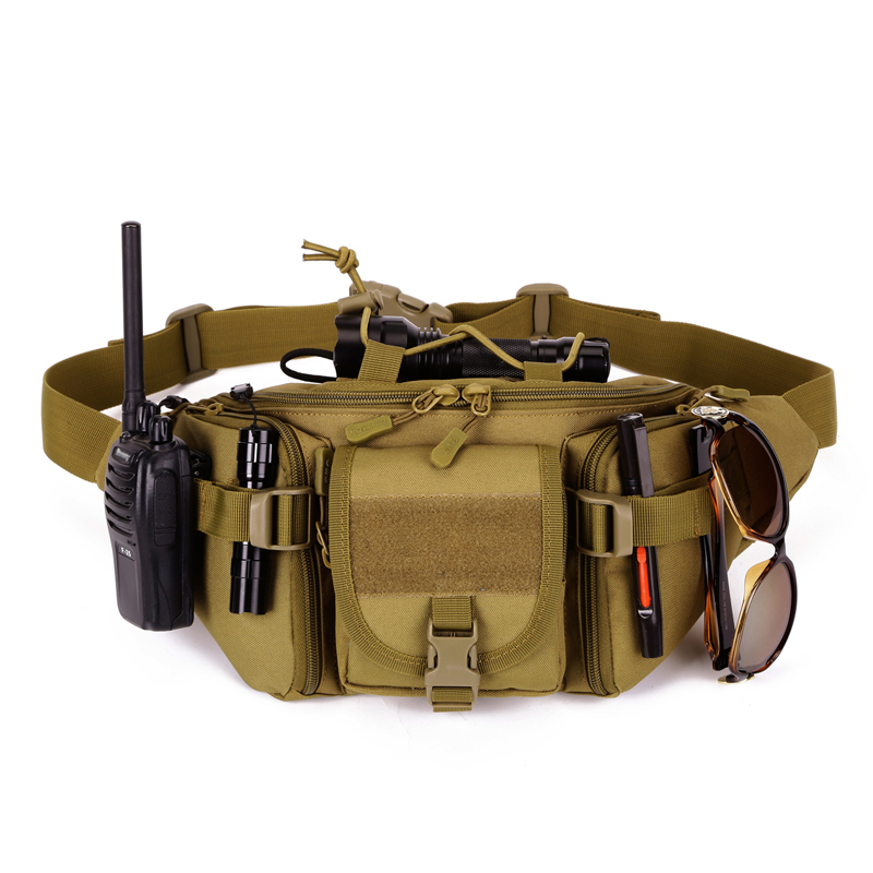 Camouflage Waterproof Nylon Tactical Molle Bag Men Outdoor Sports Belt Pack Camping Fishing Hunting Waist Bags Sports Bag Y102 airsoftpeak military tactical waist hunting bags 1000d outdoor multifunctional edc molle bag durable belt pouch magazine pocket