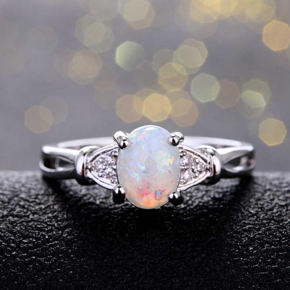 באיכות גבוהה 6X8MM סגלגל אופל טבעות סיטונאי טבעות לילדה נשים של תכשיטים החדש טרנדי 2018 מסיבת טבעת על מכירה