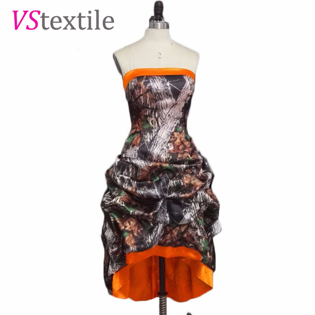 strapless short front long back high low camouflage bridemaid dresses 2019  camo wedding party dresses f0ebdd66f57e