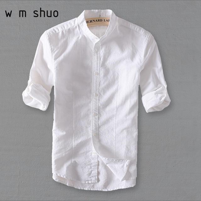 Linnen Overhemd Wit.Aliexpress Com Koop Wmshuo Mannen Wit Linnen Overhemd Stand Kraag