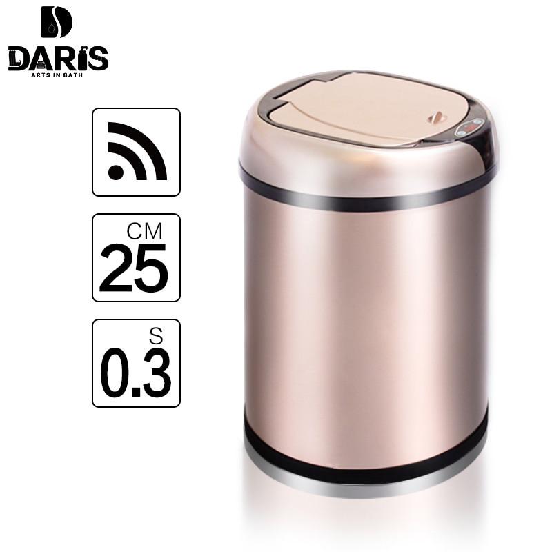 SDARISB индуктивной Тип мусорный бак Smart Сенсор дома Ванная комната свалку хранения бочки мусорное ведро Нержавеющаясталь металлический мусо...