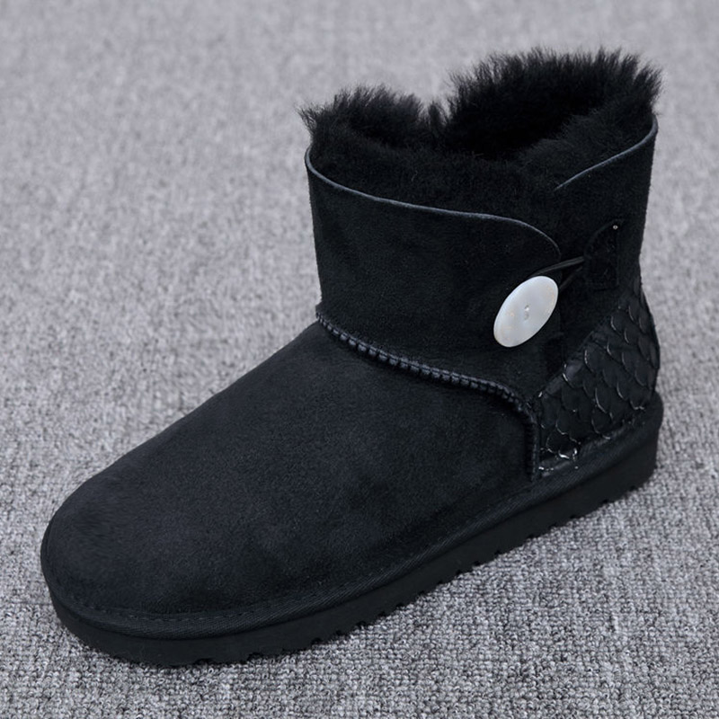 Australia/ sheep skin wool one snow boots female buckle with winter flat bottomed warm short boots, free shipping цены онлайн