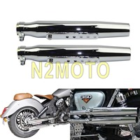 1 Pair Chrome Vintage Motorcycles Tapered Exhaust Muffler DB Killer Silencer Pipe for Harley Cafe Racer Chopper