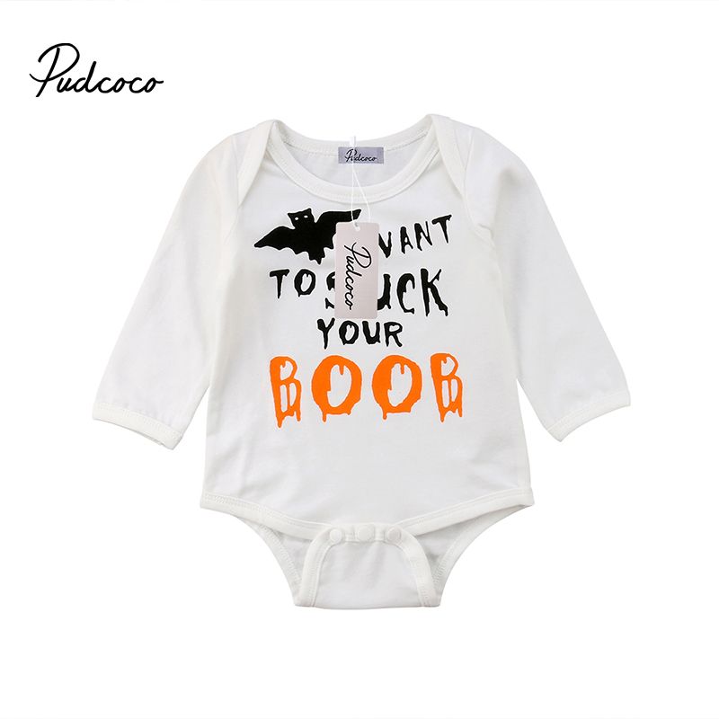 pudcoco newborn infant baby boy girl halloween romper long sleeve jumpsuit toddler spring autumn clothes lettter print one piece